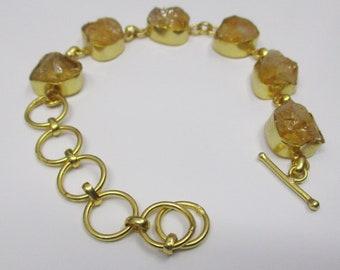 Raw Citrine Bracelet - Handmade Bracelet - Gold Plated Bracelet - Designer Bracelet - Rough Stone Bracelet - Women Bracelet - Gift For Her