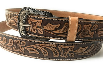 Mens western belt . Vaquero leather belt . Cowboy belt.