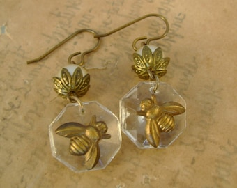 Honey on Ice - Vintage Chandelier Crystals Brass Bees Pearls Recycled Repurposed Jewelry Earriings