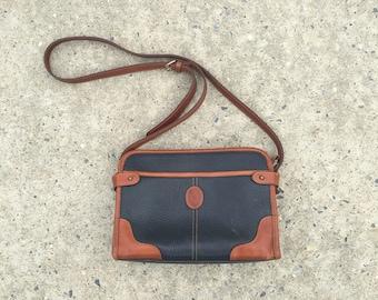 Vintage 80s 90s Liz Claiborne Blue Brown Leather Adjustable Strap Crossbody Shoulder Medium Purse Pocketbook Bag