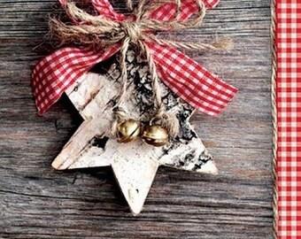 Decoupage Paper Lunch Napkins Serviettes - Wooden star. Set of 5