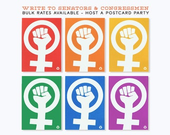 12 Pack - 5x7 Protest Postcards / Resist Postcards / Women's MarchPostcards - Sets of 6 Bright Colors
