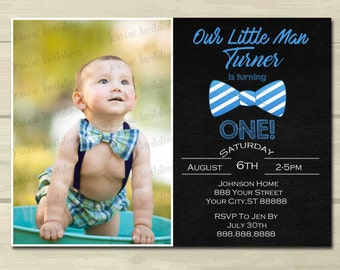Our Little Man Birthday Invitations ,One,First Birthday, Bow Tie, Chevron, Printed or Digital File ***FREE SHIPPING