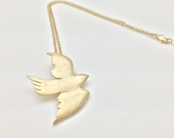 Dove Necklace // Distressed Gold Finish //Tarnish Resistant // Ask About Wholesale