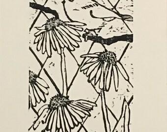 Chickadee And Echinacea Woodblock Print