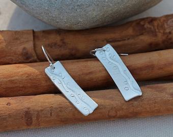 Sterling silver Vine and leaves earrings. Handmade OOAK vine earrings. Simple. abstract. minimalist.