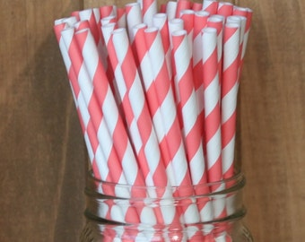 Coral Paper Straws, 25 Coral Stripe Paper Straws, Coral Wedding, Drinking Straws, Coral Baby Shower, Cake Pop Sticks, Birthday party USA