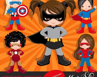 Superhero Costumes and backgrounds Bundle - Girls - Clipart – Superhero comic bubbles, splash background & cute characters.
