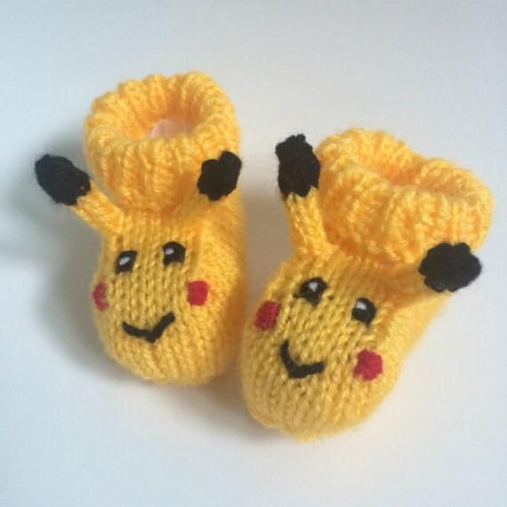 Pikachu baby booties knitting pattern animal baby boots pokemon ...