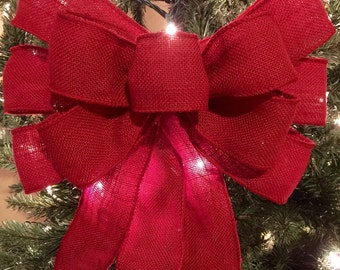 BURLAP BOW, Tree Topper, Valentine Bow, Christmas Tree Topper, Large Burlap Bow, Burlap Tree Topper, Red Burlap Bow