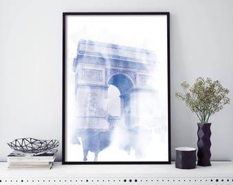 Arc de Triomphe Paris Watercolour Print Wall Art | 4x6 5x7 A4 A3 A2