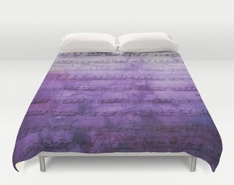 Purple Music Duvet Cover - Sheet Music Ombre watercolor design, bedroom linens, blue purple  fade,   decor
