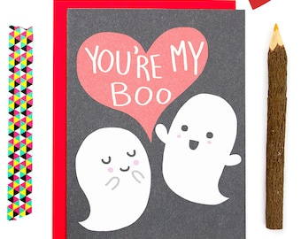 Cute Anniversary Card, Youre My Boo, Ghost Love Card, Funny Card, Funny Ghost Card, Boyfriend, Punny Love Card, Card for Partner,Cute