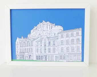 Edinburgh Print, Edinburgh Castle and Grassmarket, Blue art print, digital print, art, Scottish art, Picture of Edinburgh, Scotland