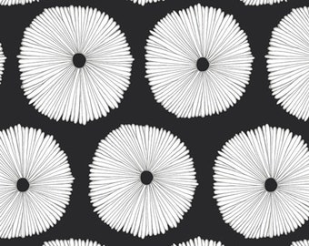 Lagom Buoyancy Opposed Cotton Fabric, Sold by the 1/2 yard, by Art Gallery,  LAM-44283  Quilting, Dandelion, Floral, Black and White