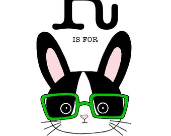 R is for Rabbit 8 x 10 Art Print