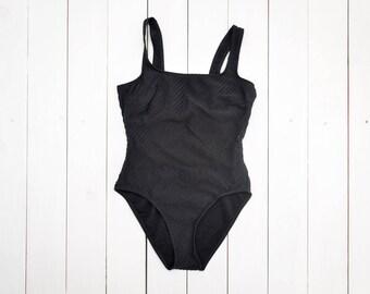 vintage plain black one piece swimsuit diagonal striped texture low back classic swimsuit large size UK 18