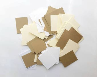 2 OZ Assorted card stocks rectangles / Paper Scrap Pack/  Card Stocks Destash/ Mixed Media Supplies/ Paper Rectangles / Various size