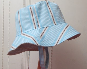 Blue Baby Boy Hat, 6 to 12 Month Reversible Bucket Hat, Cotton with Linen Hat