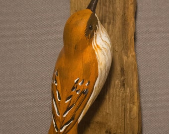 Brown Thrasher - right facing. Handcrafted, carved  wooden bird, painted bird, home decor, wall decor, Made in USA