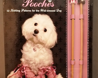 Pampered Pooches, Trixie & Peanut, 12 knitting Patterns for the Well Dressed Dog, wooden needles, gift, sweater, suit, cape, carry all, suit