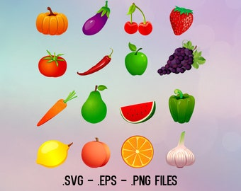 Fruits and Veggies designs. Vectors cuttable files.