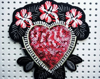 Floral heart patch