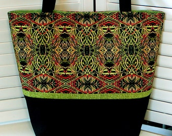 "Green & Black Misses HANDBAG TOTE PURSE ""Kaleidoscope"" Art Deco Style Cotton Print Fabric Double Handles Gray Mountain Purse-A-Nalities"