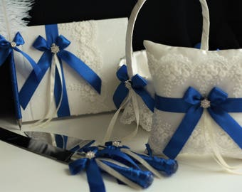Ivory Royal Blue Bearer Pillow / Royal Blue Wedding Basket / Blue Guest Book with Pen / Blue Cake Server  Blue Flower Girl Basket Pillow Set
