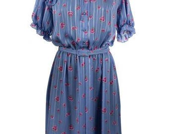 Vintage Lavendar Floral Day Dress with Frills
