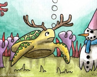 Turtle antlers underwater snowman sea wall art miniature art ATC Gift Art Trading Card Whimsical Original ART ACEO Watercolor - Katie Hone
