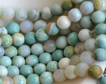 Agate Beads, Faceted Beads, Round Agate Beads, Green Agate Beads, 8mm Agate Beads, Agate Beads, Gemstone Beads, One Strand, HA170127O