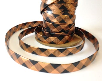 Copper and Black Plaid, Lurex and latex trim, vintage, 3-4th inch wide, slightly stretchy, 20 yds per lot, 4 lots available.