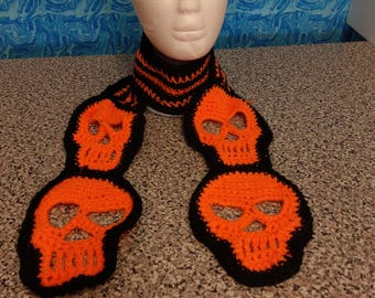 Crocheted skull scarf black and orange