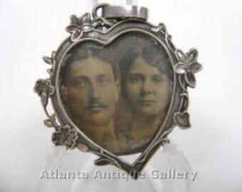 Antique Victorian Silver Heart Portrait Pendant Token of Love