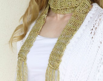Skinny Scarf, Hand Knit Skinny Scarf, Summer Scarf with Fringe, Cotton, Spring Scarf, Womens Scarves, Fall Accent Scarf, READY TO SHIP