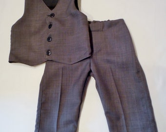 Gray Toddler suit with black lining. Boys suit in sizes  6-9 months - 5T. Made in a gray caramel suiting. Pants have elastic in the back