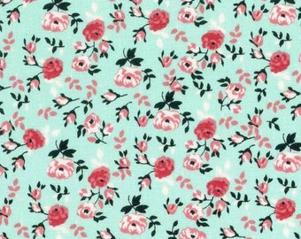 Packed Floral Mint Cotton Fabric by the yard and by the half yard
