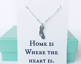 sterling silver california heart necklace choose your city,  california necklace, los angeles necklace, san francisco necklace