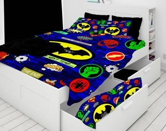 Custom Bedding, Personalized Super Hero Bedding, Super Hero Comforter, Duvet Cover, Throw Pillow
