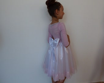 Elegant children's dress in white and rose with seven eight sleeves, beautiful dress, children's pink dress,