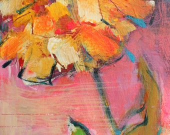 """Au delà, 6"""" x 12"""", small painting, mini format, acrylic painting, painting, flowers, original painting, flower painting, gift, mother, art,"""