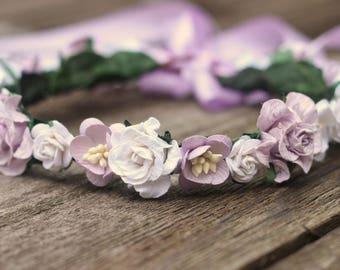 Floral Crown Lavender Flower Crown Ivory Hair Wreath, Lilac Headband, Wedding Flower Crown, Purple Wedding Crown, Boho Girls Floral Crown