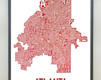 Atlanta Neighborhood Map Poster or Print, Original Artist of Type City Neighborhood Map Designs, Atlanta Typography Map Art