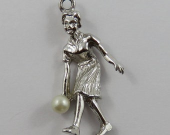 Woman Bowling With White Stone Bowling Ball Sterling Silver Vintage Charm For Bracelet