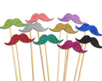 Photo Booth Props - Set of 10 Glitter Moustaches Photo Booth Props