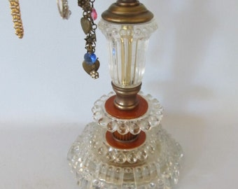 Necklace Holder|Jewelry Display Stand|Adjustable Necklace Stand on Vintage Art Deco Bakelite Lamp Base |Salvaged Parts|