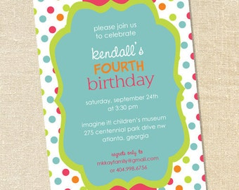 Sweet Wishes Girl's Funky Polka Dot Birthday Invitations - PRINTED - Digital File Also Available
