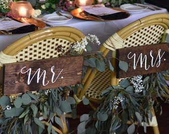 Mr and Mrs Signs, Mr and Mrs Chair Signs, Wooden Wedding Signs, Mr Mrs signs, Mr Mrs chair signs - Sophia Collection