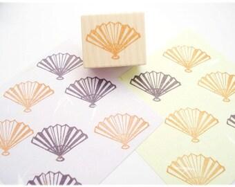 Japanese fan stamp, Traditional Japanese stamp, Handcarved rubber stamp, Asian wedding, Zen Japanese stamp, Hanko hobonichi, Handmade stamp